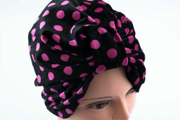 Velvet Polka Dot Turban - Black - Hidden Pearls