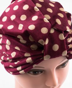 Velvet Polka Dot Turban - Maroon - Hidden Pearls