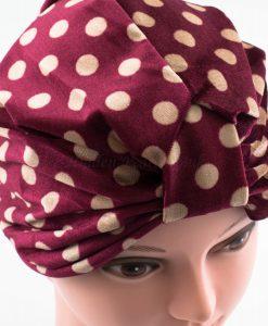 Velvet Polka Dot Turban - Maroon - Hidden Pearls