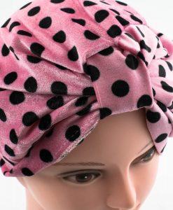 Velvet Polka Dot Turban - Spanish Pink - Hidden Pearls