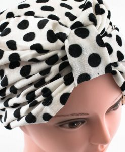 Velvet Polka Dot Turban - White - Hidden Pearls