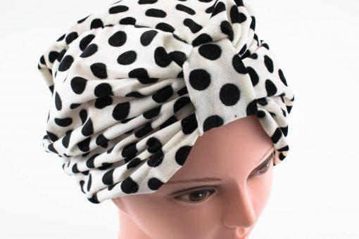 Velvet Polka Dot Turban - White - Hidden Pearls