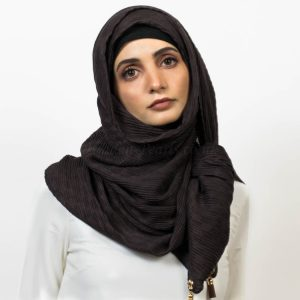 Leather Tassel Hijab - Chocolate - Hidden Pearls