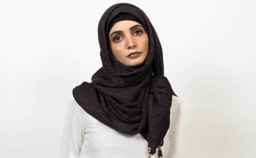 Leather Tassel Hijab - Chocolate - Hidden Pearls