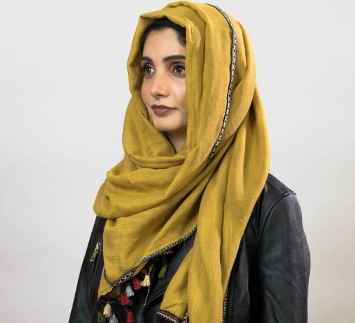 Moroccan Tassel Hijab - Mustard - Hidden Pearls