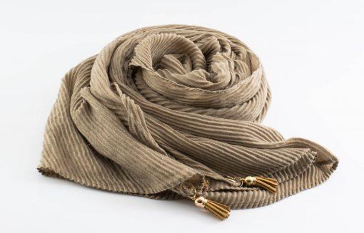 Leather Tassel Hijab Taupe Grey
