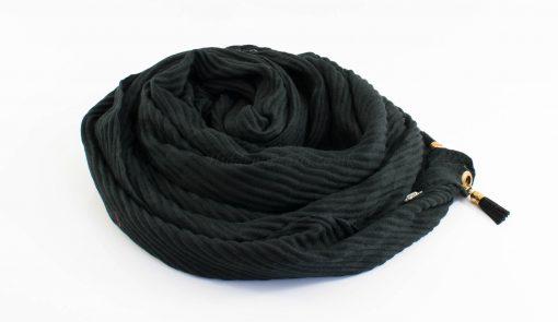 Leather Tassel Hijab Black