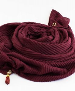 Leather Tassel Hijab Burgundy 1