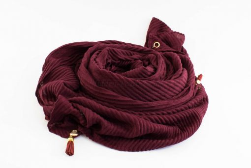 Leather Tassel Hijab Burgundy 1