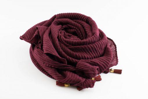 Leather Tassel Hijab Burgundy 3