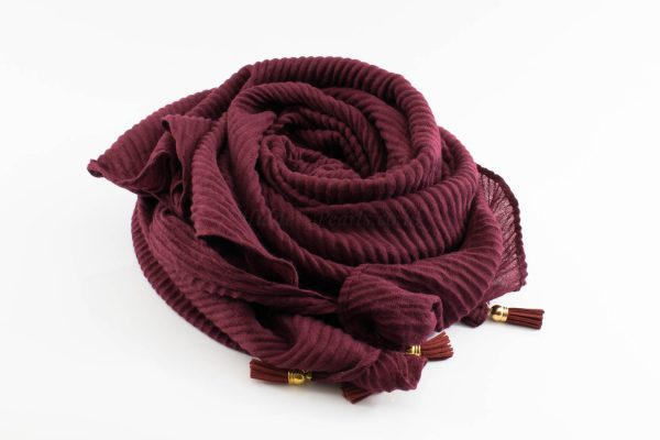 Leather Tassel Hijab Burgundy 3