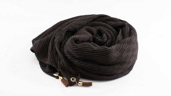Leather Tassel Hijab Chocolate
