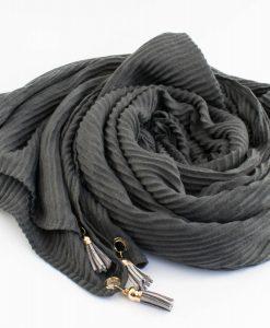 Leather Tassel Hijab Dark Grey