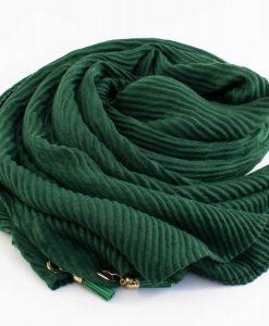 Leather Tassel Hijab Forest Green 1