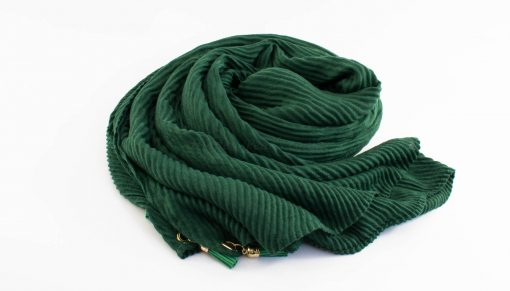 Leather Tassel Hijab Forest Green 1