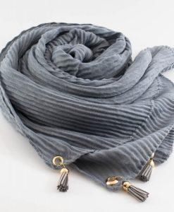 Leather Tassel Hijab Light Grey