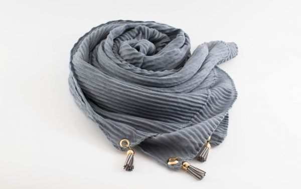 Leather Tassel Hijab Light Grey