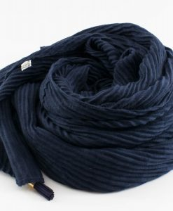 Leather Tassel Hijab Midnight Blue