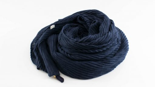 Leather Tassel Hijab Midnight Blue