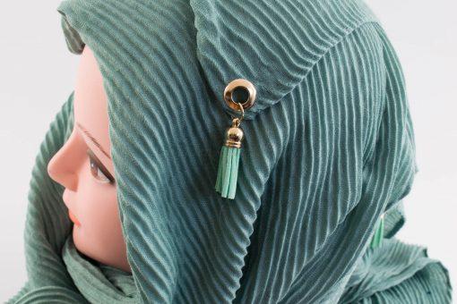 Leather Tassel Hijab Mint 3