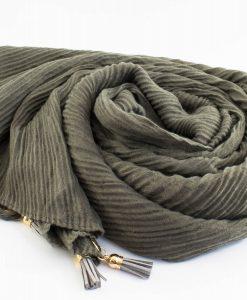 Leather Tassel Hijab Olive
