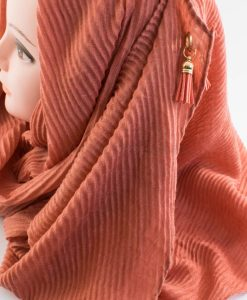 Leather Tassel Hijab Rust 2