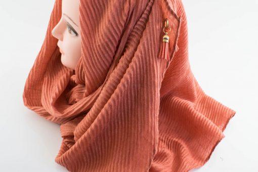 Leather Tassel Hijab Rust 2