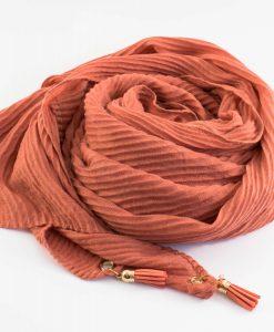Leather Tassel Hijab Rust