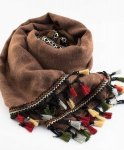 Moroccan Border Hijab Brown 1