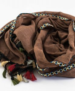 Moroccan Border Hijab Brown