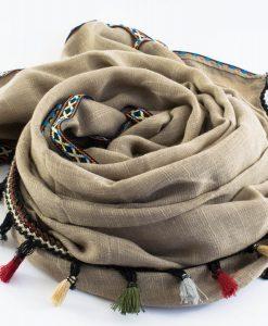 Moroccan Border Hijab Cream