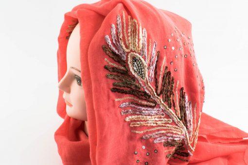 Picasso Velvet Hijab Deep Peach 1