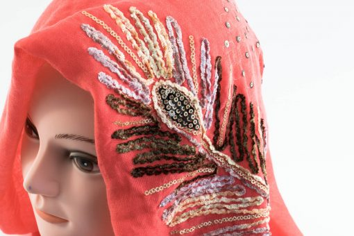 Picasso Velvet Hijab Deep Peach 2