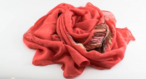 Picasso Velvet Hijab Deep Peach 3