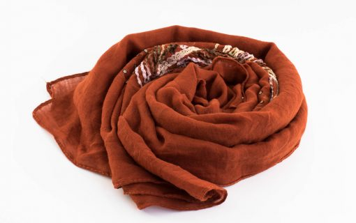 Picasso Velvet Hijab Persian Orange