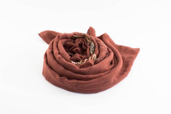 Picasso Velvet Hijab Rust 2