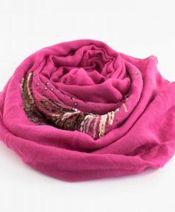 Picasso Velvet Hijab Shocking Pink