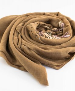 Picasso Velvet Hijab Tan Brown