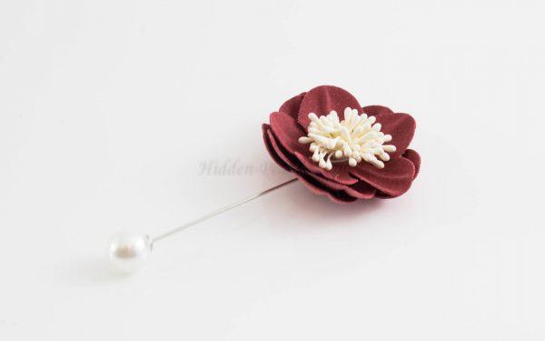 Big Petal Pins - Hidden Pearls - Maroon