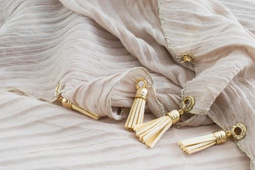 Border Leather Tassel Hijab - Hidden Pearls - Beige 2
