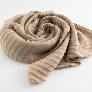 Border Leather Tassel Hijab - Hidden Pearls - Beige