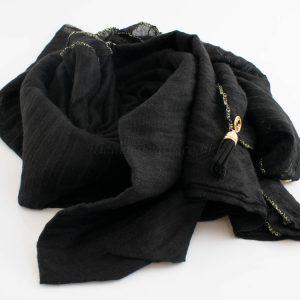 Border Leather Tassel Hijab - Hidden Pearls - Black