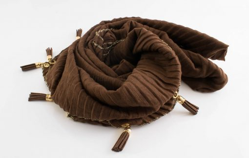 Border Leather Tassel Hijab - Hidden Pearls - Chocolate