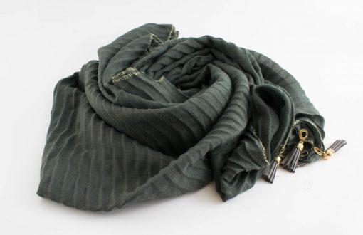 Border Leather Tassel Hijab - Hidden Pearls - Dark Grey