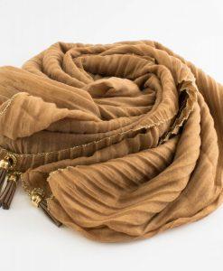 Border Leather Tassel Hijab - Hidden Pearls - Golden Brown