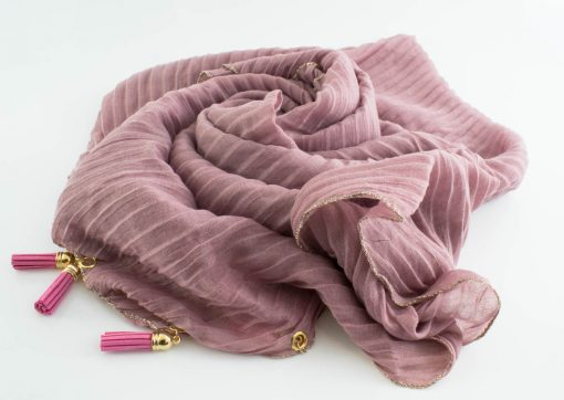 Border Leather Tassel Hijab - Hidden Pearls - Lavender