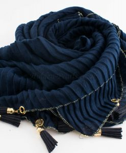 Border Leather Tassel Hijab - Hidden Pearls - Midnight BlueBorder Leather Tassel Hijab - Hidden Pearls - Midnight Blue