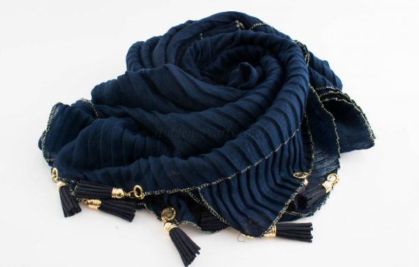 Border Leather Tassel Hijab - Hidden Pearls - Midnight BlueBorder Leather Tassel Hijab - Hidden Pearls - Midnight Blue