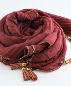 Border Leather Tassel Hijab - Hidden Pearls - Persian Red