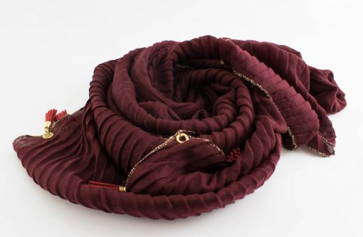 Border Leather Tassel Hijab - Hidden Pearls - Rosewood 2